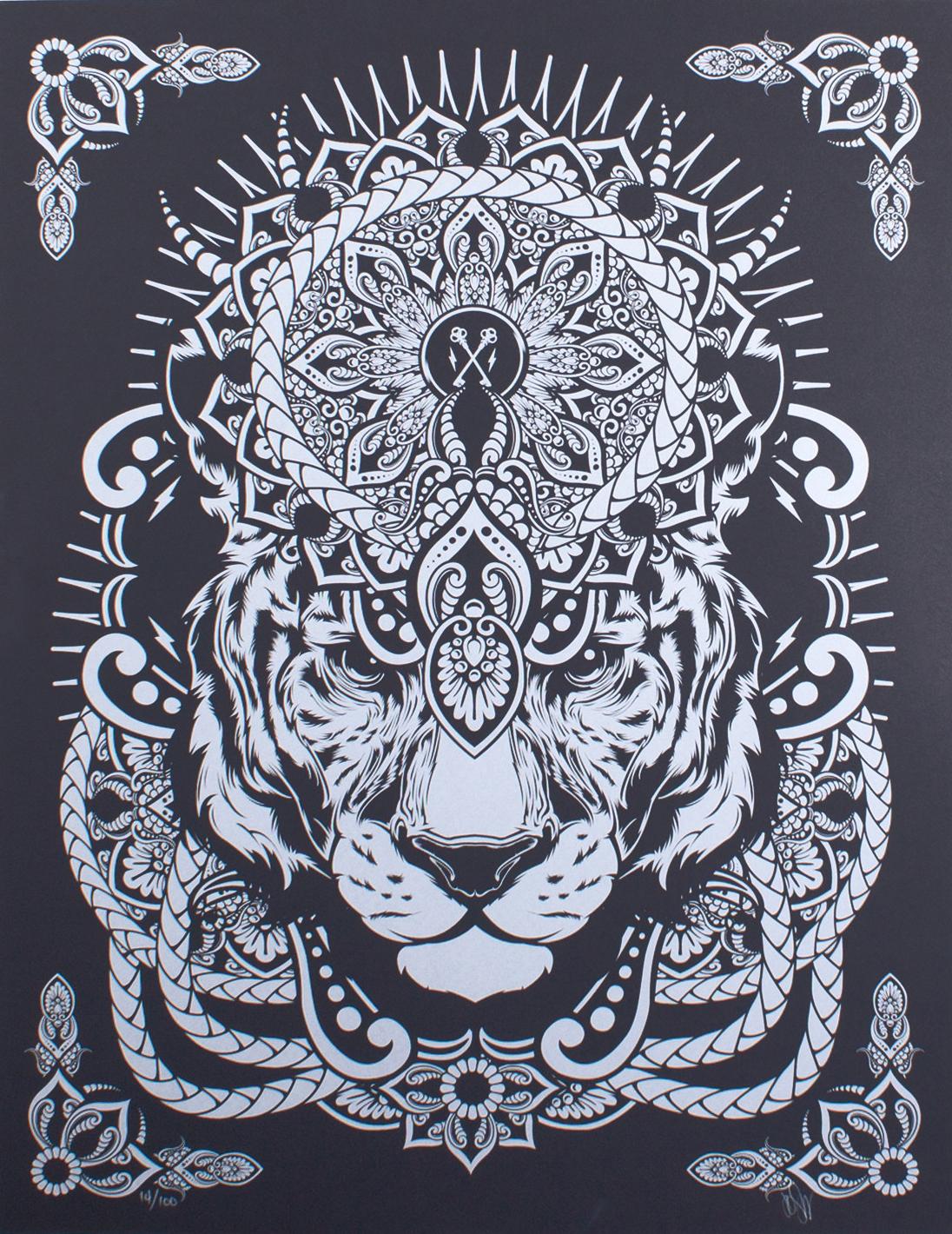 Mandala tiger screenprint by hydro74 trampt library - Tigre mandala ...