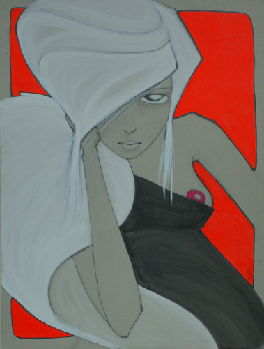 Fluo_red-ajee-graphite_and_acrylic_paint_on_cardboard-trampt-127326m