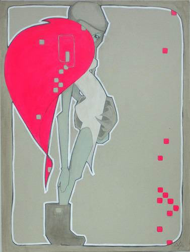 Fluo_pink_fur-ajee-graphite_and_acrylic_paint_on_cardboard-trampt-127327m