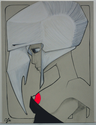 White_helmet-ajee-graphite_and_acrylic_paint_on_cardboard-trampt-127328m