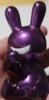 BLACK RABBIT SITTING - METALLIC purple