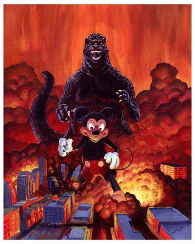 Austin_is_burning_godzilla_vs_mickey_mouse-manlyart_jason_chalker-gicle_digital_print-trampt-168633m