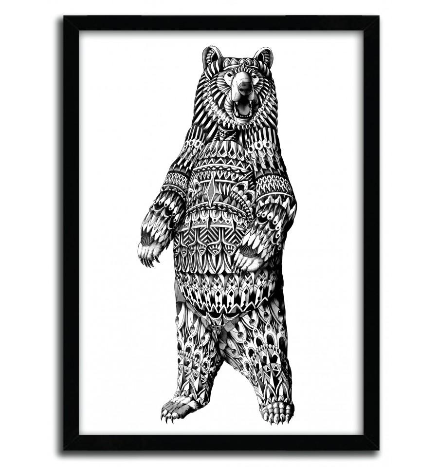 ornate grizzly bear giclée digital print by bio trampt library