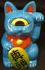 "Fortune Cat "" Maatama "" molded color : blue ] paint : red , white black yellow eyes"