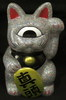 "Fortune Cat "" Maatama "" molded color: Giga lame Silver ] paint : black , red black and white eyes"
