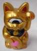 Heart Fortune Cat Gold ear red oval