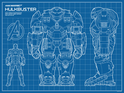 Hulkbuster blueprint screenprint by timcab trampt library malvernweather Choice Image