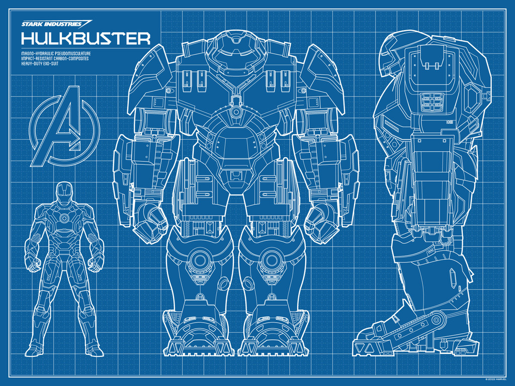 Hulkbuster blueprint screenprint by timcab trampt library for Printable blueprints