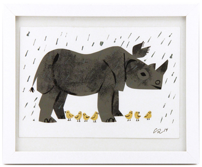 Thank you rhino Collage & goache by Christian Robi... | Trampt Library