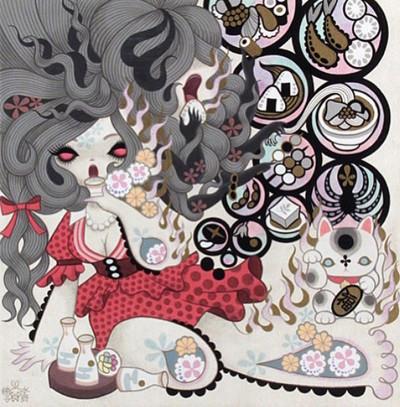 Futakuchi_onna_two_mouthed_woman-junko_mizuno-gicle_digital_print-trampt-245833m