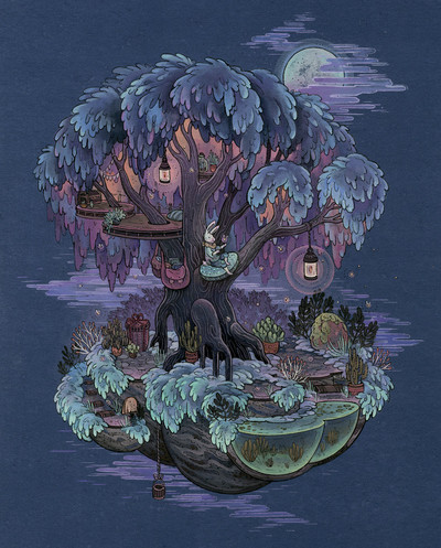 Firefly_treehouse_painting-leontine_greenberg-watercolor_gouache_and_pencil-trampt-261167m