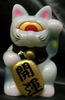 fortune cat baby ( milky white molding / head origin / black / blue / yellow / pink paint / gold coin / better luck)