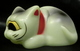 sleeping fortune cat ( Phosphorescent formed type / neck original red / black / gray paint )