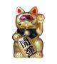 MINI FORTUNE CAT - GOLD/BLACK RED EYE