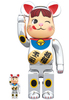 100% & 400% Milky Peko-chan Silver Beckoning Cat (Set)