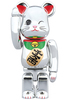 100% Beckoning Cat Silver-plated Four Be@rbrick