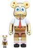 100% + 400% Gold Chrome Spongebob Squarepants Be@rbrick (Set)