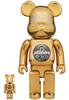 100% + 400% Atmos Gold Chrome Be@rbrick (Set)