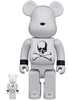 100% + 400% White Chrome Mastermind Japan Be@rbrick (Set)