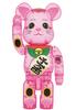 400% Clear Pink Maneki Neko Be@rbrick