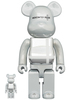 100% + 400% White Chrome Medicom Toy Plus Bearbrick (Set)