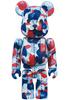 Red & Blue Camo Bearbrick : A Bathing Ape 28th Anniversary