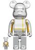 100% + 400% Silver Chrome Medicom Toy Plus Bearbrick (Set)