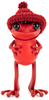 """5"""" Red APO Frog with Knitted Hat"""
