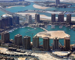 Aerial View of The Pearl-Qatar, in Doha, Qatar