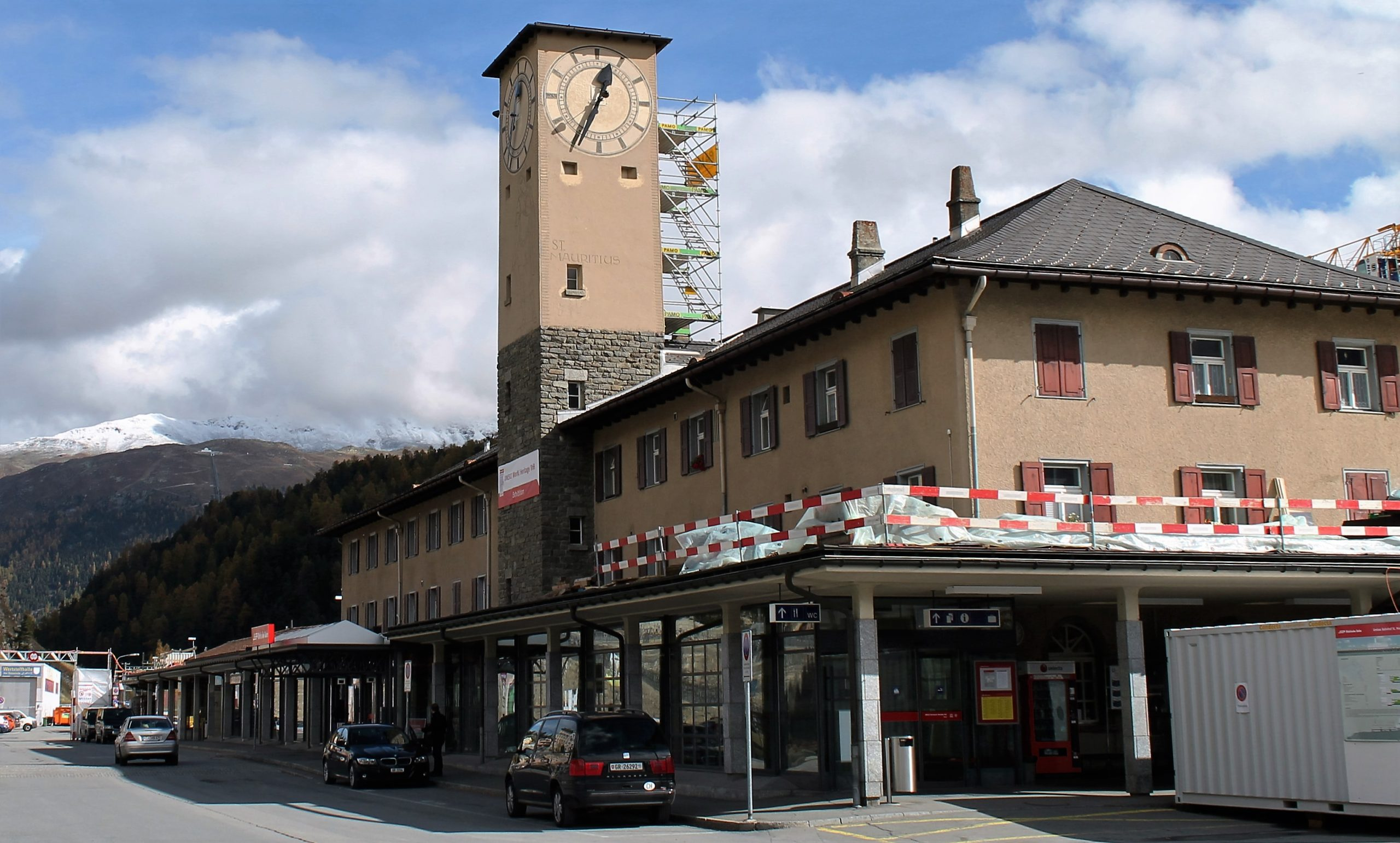 Arriving in St Moritz, Switzerland