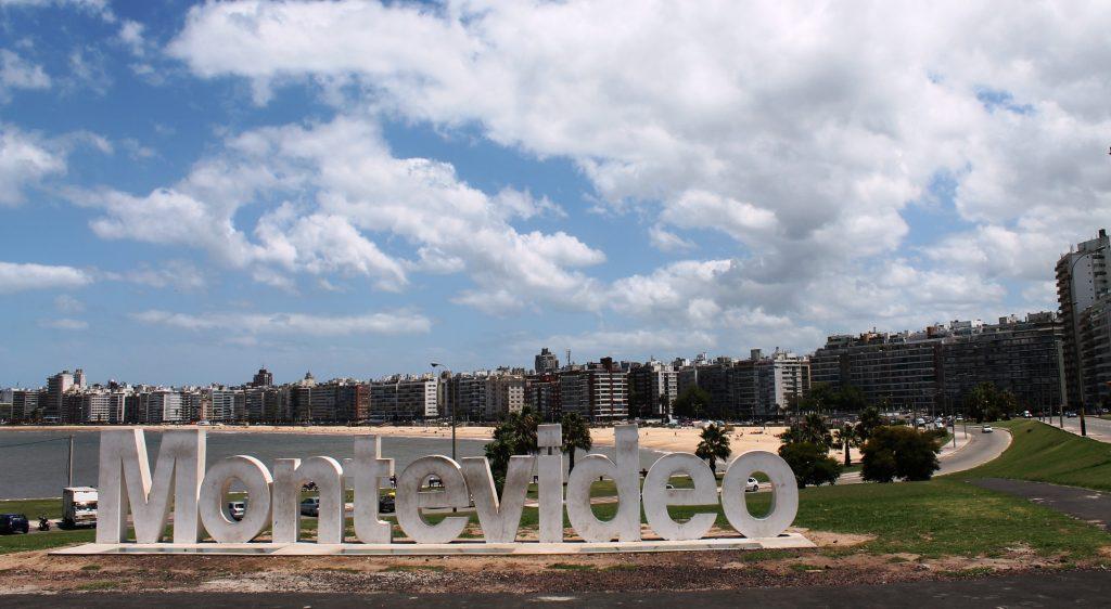 Sign city Pocitos Beach in Montevideo
