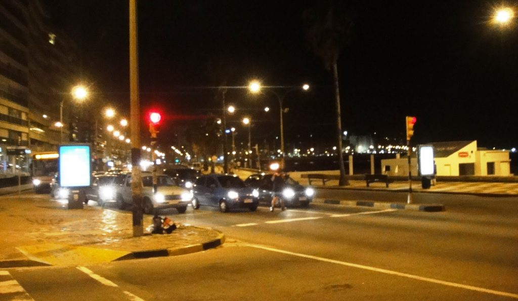 Night near Pocitos Beach in Montevideo