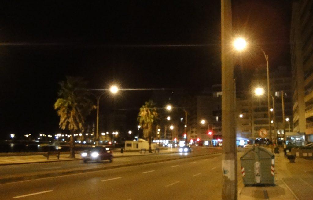 montevideo beach at night