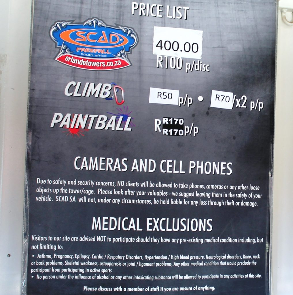 rock climbing and paintball price orlando towers soweto