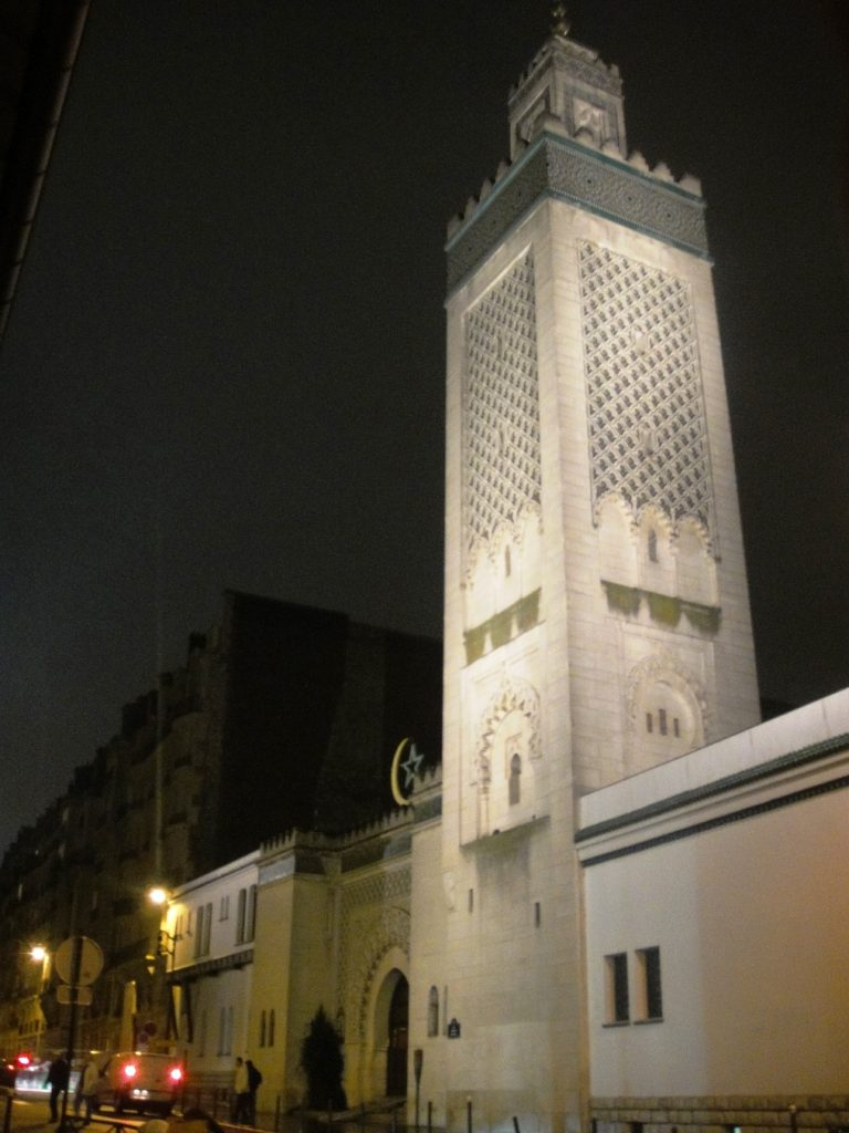 minaret night grand mosque paris