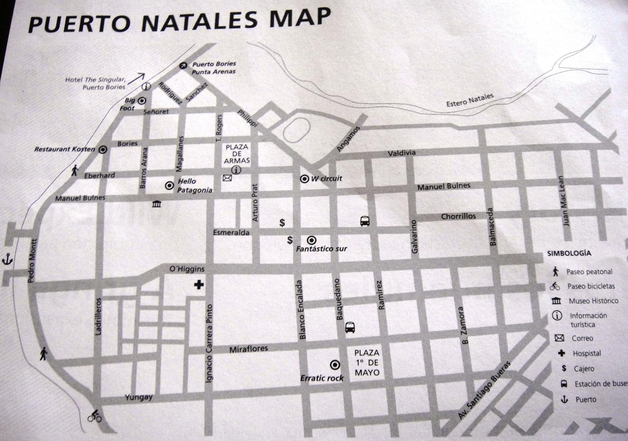 puerto natales map