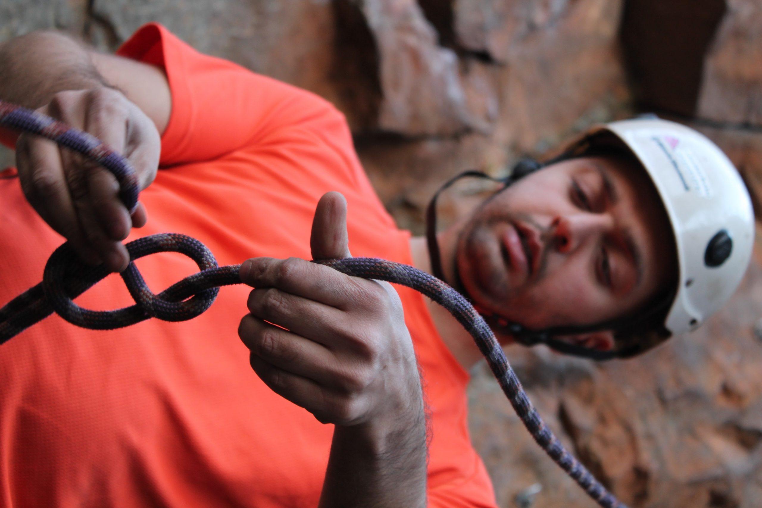 Tying a figure 8