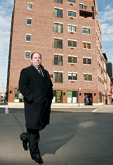 William Jordan of CBRE in front of 12-01 Jackson Avenue in Long Island City, where the Natural Frontier Market is opening soon.