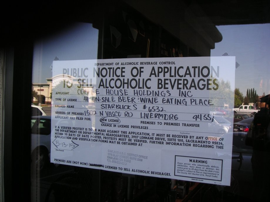Trip photo #5/13 Starbucks on Vasco - new application for liquor license
