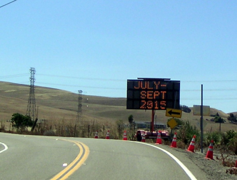 Trip photo #4/9 Patterson Pass sign with closure announcement
