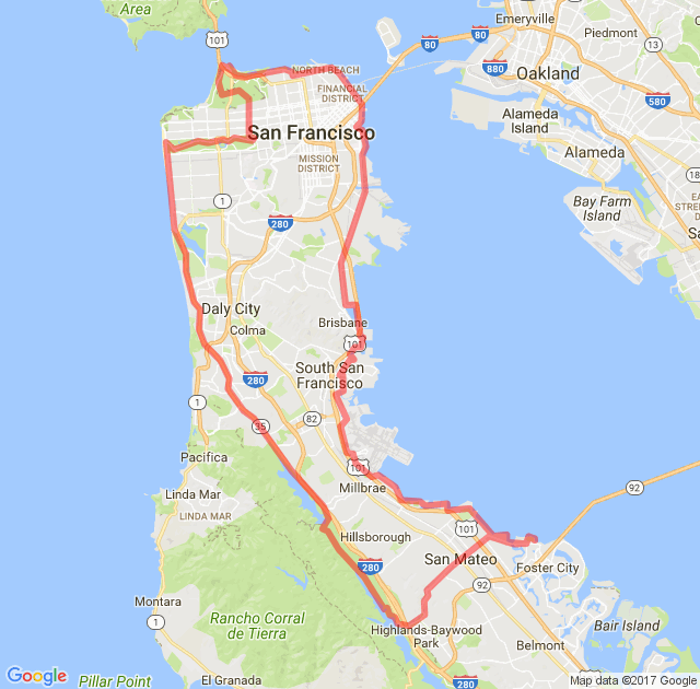 Loop Around The San Francisco Peninsula From Foster City