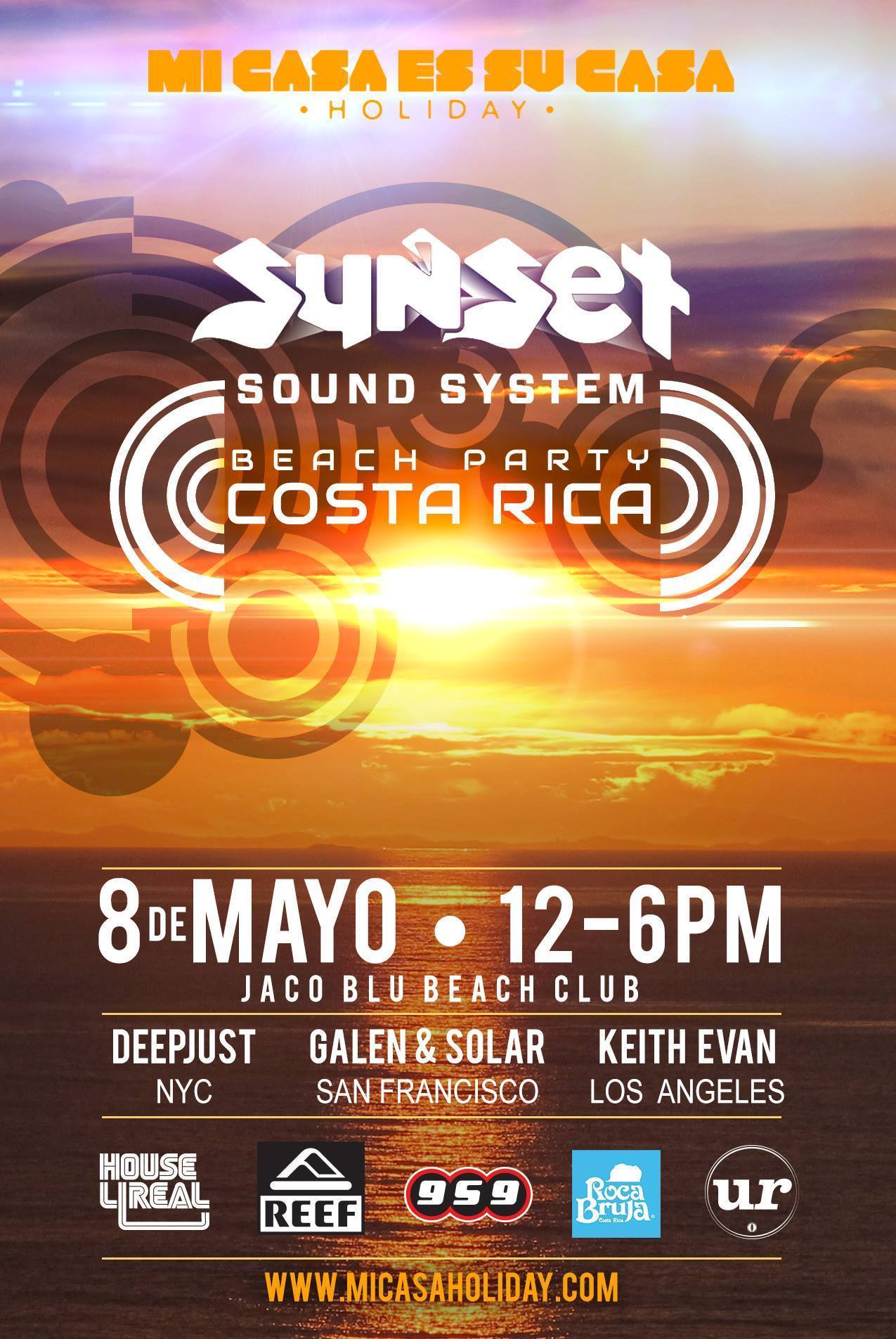 Off to Costa Rica to host a Sunset Beach Party with my compadre Solar. See ya soon Mi Casa Holiday - Costa Rica... If you're in the area come find us at Jaco Blu on Friday!