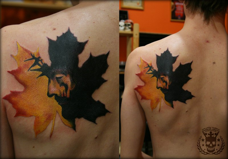 Фото тату листья клена