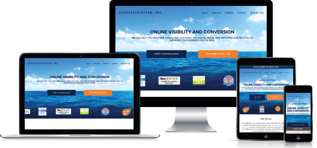 Depiction of website on multiple devices with varying screen sizes.