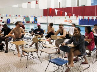 Swimming for the Non-Swimmer fulfills the aquatic requirement for kinesiology majors, but draws participation from many students who never learned to swim when they were growing up. | Claire Sasko TTN