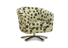 swivel tub chair black woodstock fabric 45 degree.