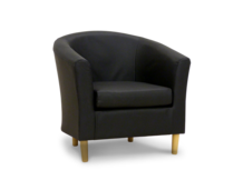 leather tub chair black pvc 45 degree.