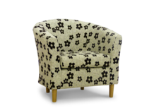 tub chair in black woodstock fabric 45 degree.