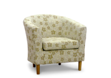 tub chair in cream woodstock fabric 45 degree.