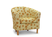 tub chair in mustard woodstock fabric 45 degree.